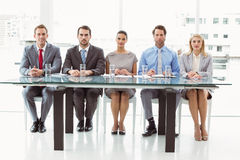Panel of corporate personnel officers in office Stock Photos