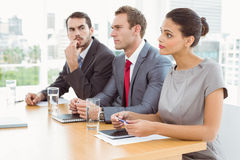 Panel of corporate personnel officers sitting in office royalty free stock images