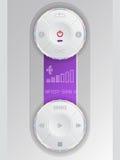 Panel de control audio compacto con el lcd púrpura Fotos de archivo libres de regalías