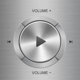 Panel de control audio con los botones alrededor del botón de reproducción principal Fotos de archivo