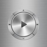 Panel de control audio con los botones alrededor del botón de reproducción principal Fotografía de archivo