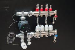Panel de control de la calefacción central imagen de archivo libre de regalías