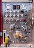 Panel de control de Chrome del coche de bomberos Fotografía de archivo