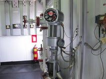 Panel de control para abrir y cerrar la válvula La impulsión eléctrica de la válvula Foto de archivo
