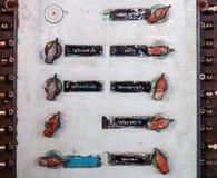 Panel de control viejo del interruptor de iluminación del acorazado Foto de archivo libre de regalías