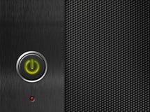 Panel de delante del ordenador con el botón de la potencia encendido imagenes de archivo