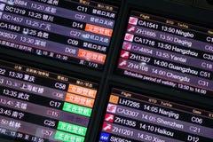 Panel de l'information de vol Photo stock