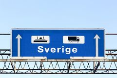 Panel and direction by ferryboat to Sweden in Denmark. Blue panel and direction by ferryboat to Sweden in Denmark Royalty Free Stock Image