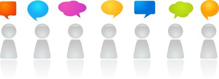 Panel discussion. A line of abstract figures with speech bubbles Stock Image