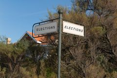 Panel for election direction right or left your choice Stock Photos