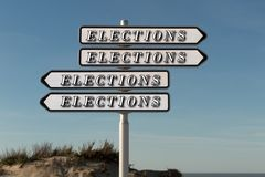Panel for election direction right or left your choice Stock Images