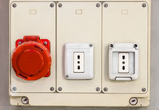 Panel with electric Sockets Royalty Free Stock Photography