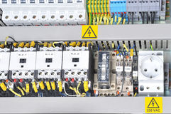 Panel with  electrical equipment Royalty Free Stock Photos
