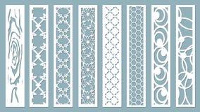Panel för registrering av de dekorativa yttersidorna Abstrakta remsor, linjer, paneler Vektorillustration av ett laser-klipp plot royaltyfri illustrationer