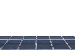 Panel för sol- cell på vit bakgrund, energi - besparingbegrepp Arkivfoto