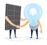 Panel för sol- energi och ljus kula för idé som skakar händer Royaltyfria Foton