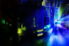 Panel för supercomputers för abstraktionutsidaexponering i serverrummet arkivfoton