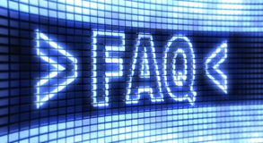Panel FAQ. The word FAQ on the screen stock illustration