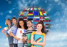 panel with flags in a ball an connections with students with flags Stock Photos