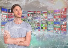 Panel with flags and money earth, with front of stars and young man Royalty Free Stock Image