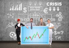 Panel with forex chart. Businesspeople holding plasma panel with forex chart Stock Photography