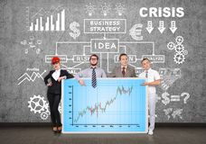 Panel with forex chart. Businesspeople holding plasma panel with forex chart Stock Images