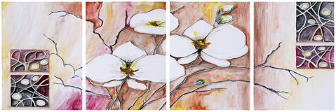 Panel of four paintings - Blooming cherry tree Stock Photo