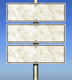 3-Panel GI Galvanized Iron Road Signs (Isolated) Royalty Free Stock Image