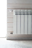 Panel heating with heat regulator. White radiator Royalty Free Stock Photos