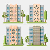 Panel houses flat set3. Set of  flat style facades of panel houses. Classic blocks of flats architectural symbols and design elements. Collection for product Royalty Free Stock Image
