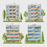Panel houses flat set2. Set of  flat style facades of panel houses. Classic blocks of flats architectural symbols and design elements. Collection for product Royalty Free Stock Photo