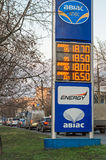 Panel information at gas station. Dnepropetrovsk, Ukraine - December 04, 2015: Current gasoline prices in UAH at a gas station in Ukraine Royalty Free Stock Image