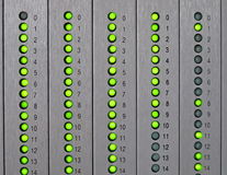 Panel with led lights green Stock Image
