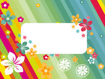 Panel lines background with colorful blossoms Royalty Free Stock Photos