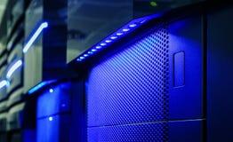 Panel mainframe closeup blue blur server room Royalty Free Stock Photography