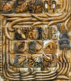 A panel of Mayan art from the stele tower at the entrance from Animaya Zoo in Merida Mexico Stock Images