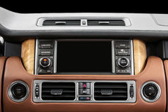 Panel of a modern car. Screen multimedia system. Stock Image