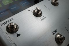The panel of a musical mixer Royalty Free Stock Image
