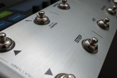 The panel of a musical mixer Royalty Free Stock Photography