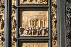 Panel of outdoor East doors of Baptistery Royalty Free Stock Image