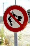 Panel prohibited with the dog Royalty Free Stock Images