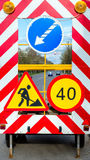 Panel road signs. Repairs road and the speed limit Stock Image