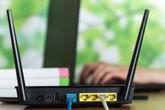 Panel router, łączy interneta kabel i wyposażenie zdjęcie royalty free