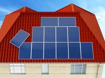 Panel słoneczny instaluje na budynku dachu ilustracja 3 d ilustracja wektor