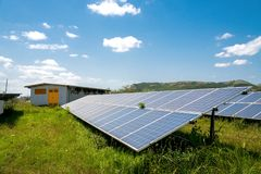 Panel słoneczny, photovoltaic, alternatywny elektryczności źródło, zdjęcie stock