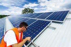 Panel słoneczny instalacja Fotografia Stock