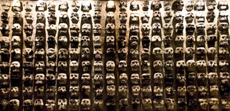 Panel of skulls. From the prehispanic times Royalty Free Stock Photos