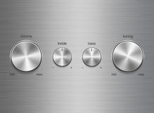 Panel of sound controls with metal brushed texture. Template of panel of sound control with metal aluminum or chrome brushed texture isolated on aluminum texture Stock Photos