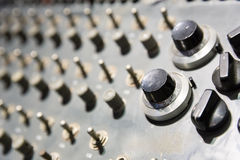Panel with switchers and buttons closeup Royalty Free Stock Photo