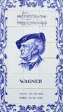 A panel of Azulejos blue tiles depicting Wilhelm Richard Wagner the German composer. A panel of tiles depicting Wilhelm Richard Wagner the German composer on the stock image